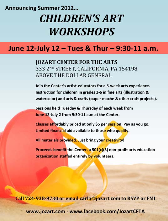 summer 2012 art workshops flyer